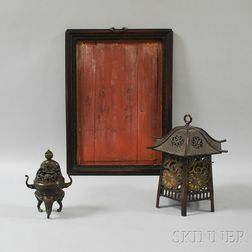 Two Bronze Items and a Wood Frame