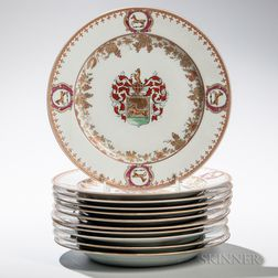 Eleven Samson Armorial Plates
