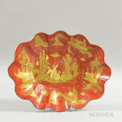 English Red-lacquered Chinoiserie-decorated Scalloped Bowl