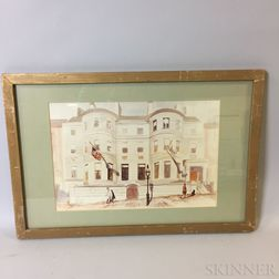 Framed Photo-reproduction of a Helen Adams Isaacs Watercolor of the Somerset Club