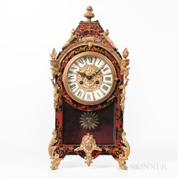 Louis XIV-style Boulle and Faux Tortoiseshell Mantel Clock