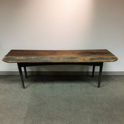 Country Blue-painted Pine Harvest Table