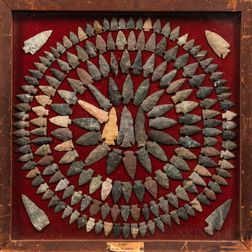 Collection of Prehistoric Stone Arrowheads, Spear Heads, and Two Axes