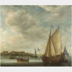 Attributed to Jan Abrahamsz Beerstraten (Dutch, 1622-1666)  Animated Harbor Scene