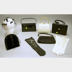 Five Lady's Handbags and Two Pairs of Gloves