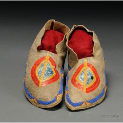 Upper Missouri River Quilled and Beaded Hide Moccasins