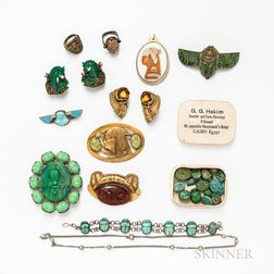 Group of Egyptian Revival Costume Jewelry