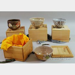 Four Japanese Ceramic Tea Ceremony Bowls