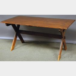Rectangular Stained Pine Sawbuck Table