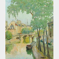 Constantine Kluge (French, 1912-2003)      L'Institut et le Pont Neuf