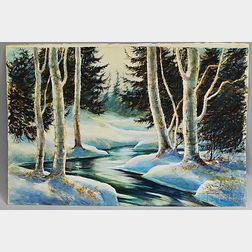 James A. Camlin (American, 1918-1982)      Winter and Autumn River Scene/A Double-sided Composition
