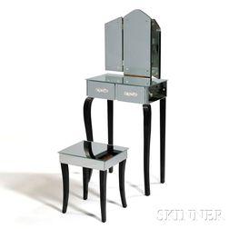 Art Deco-style Mirrored Vanity with Stool
