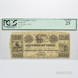 """1843 Republic of Texas 12 1/2 Cent """"Exchequer"""" Note, Cr. A10, PCGS Very Fine 25."""