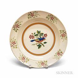 Staffordshire Bird-decorated Salt-glazed Soup Plate