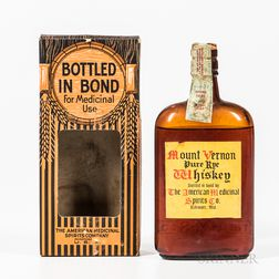Mount Vernon Rye 10 Years Old 1921, 1 pint bottle (oc) Spirits cannot be shipped. Please see http://bit.ly/sk-spirits for more info.