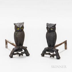 Pair of Cast Iron Owl Andirons