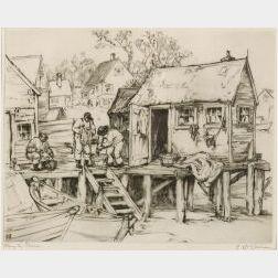 Lot of Three Etchings:  Gerald M. Burn (British, fl. circa 1920), The Spaniards, Hampstead;