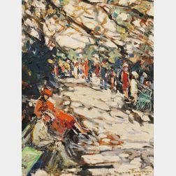 Walter Farndon (American, 1876-1964)      Strollers in a Park