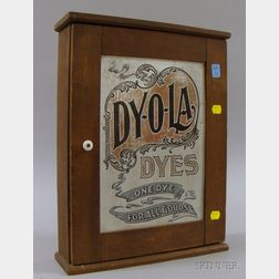 """""""DY-O-LA Dyes"""" Tin and Wood Retail Counter Cabinet"""