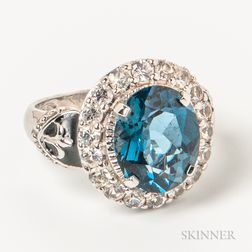14kt White Gold and Blue Gemstone Ring