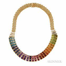 18kt Gold Gem-set Fringe Necklace