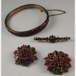 Four Antique Garnet Jewelry Items