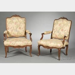 Pair of Louis XV Beechwood Fauteuils