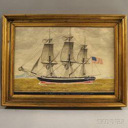 American School, 19th Century       Ship Belisarius of Salem, John Crowninshield Commander 1795.