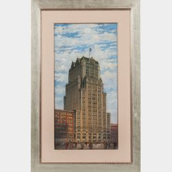 American School, 20th Century      Architectural Watercolor, Oil, and Drawing:   Tall Commercial Building with American Flag