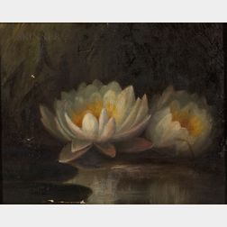Three Framed Floral Works:      American School, 19th Century, Waterlilies