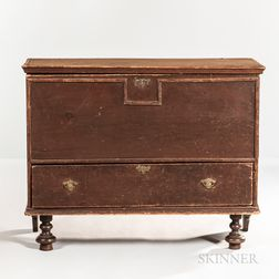 Early Red/brown-painted Chest over Drawer