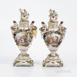 Pair of German Porcelain Vases, Covers, and Stands
