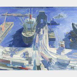 Arthur Getz (American, 1913-1996)  Waterfront