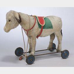 Steiff Gray Mohair Ride-on Donkey