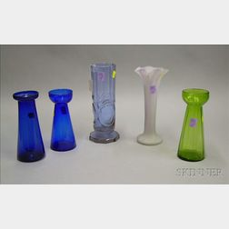Moser Sapphire Blue Cut Glass Vase, Three Colored Glass Crocus Vases, and a Satin   Glass Vase