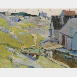 Walter Farndon (American, 1876-1964)      The Fishing Shacks/Possibly a Nova Scotia Landscape