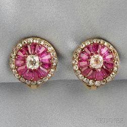 Antique Ruby and Diamond Earclips