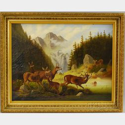 19th/20th Century American School Oil on Canvas View of Elk in Yellowstone