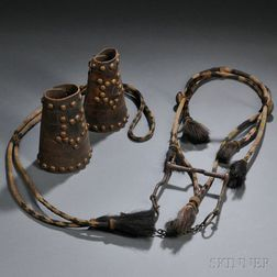 Old Horsehair Bridle and Pair of Brass-studded Leather Cowboy Cuffs