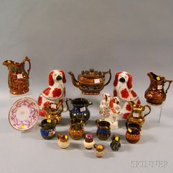 Eighteen Pieces of Mostly Copper Lustre Pitchers