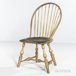 Gold- and Black-painted Bow-back Windsor Chair