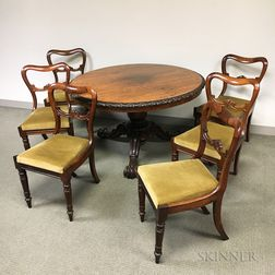 Regency Carved Rosewood Tilt-top Table and a Set of Six Chairs.     Estimate $300-500