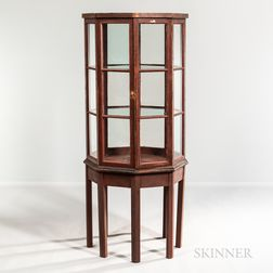 Octagonal Glazed Red-painted Cabinet on Modern Stand