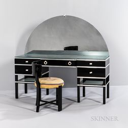 "Paul Frankl (Austrian/American, 1886-1958) for Frankl Galleries ""Skyscraper"" Vanity and Stool"