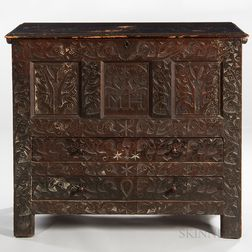 "Carved Oak and Pine ""MH"" Hadley Chest"