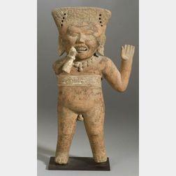 Large Pre-Columbian Smiling Figure