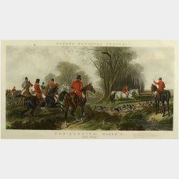 Large Framed English Tinted Hunting Print