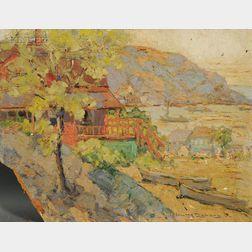 Walter Farndon (American, 1876-1964)      Houses Along a Cove