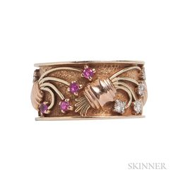 Retro Bicolor 14kt Gold, Ruby, and Diamond Ring