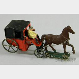 Painted Tin Horse-Drawn Carriage